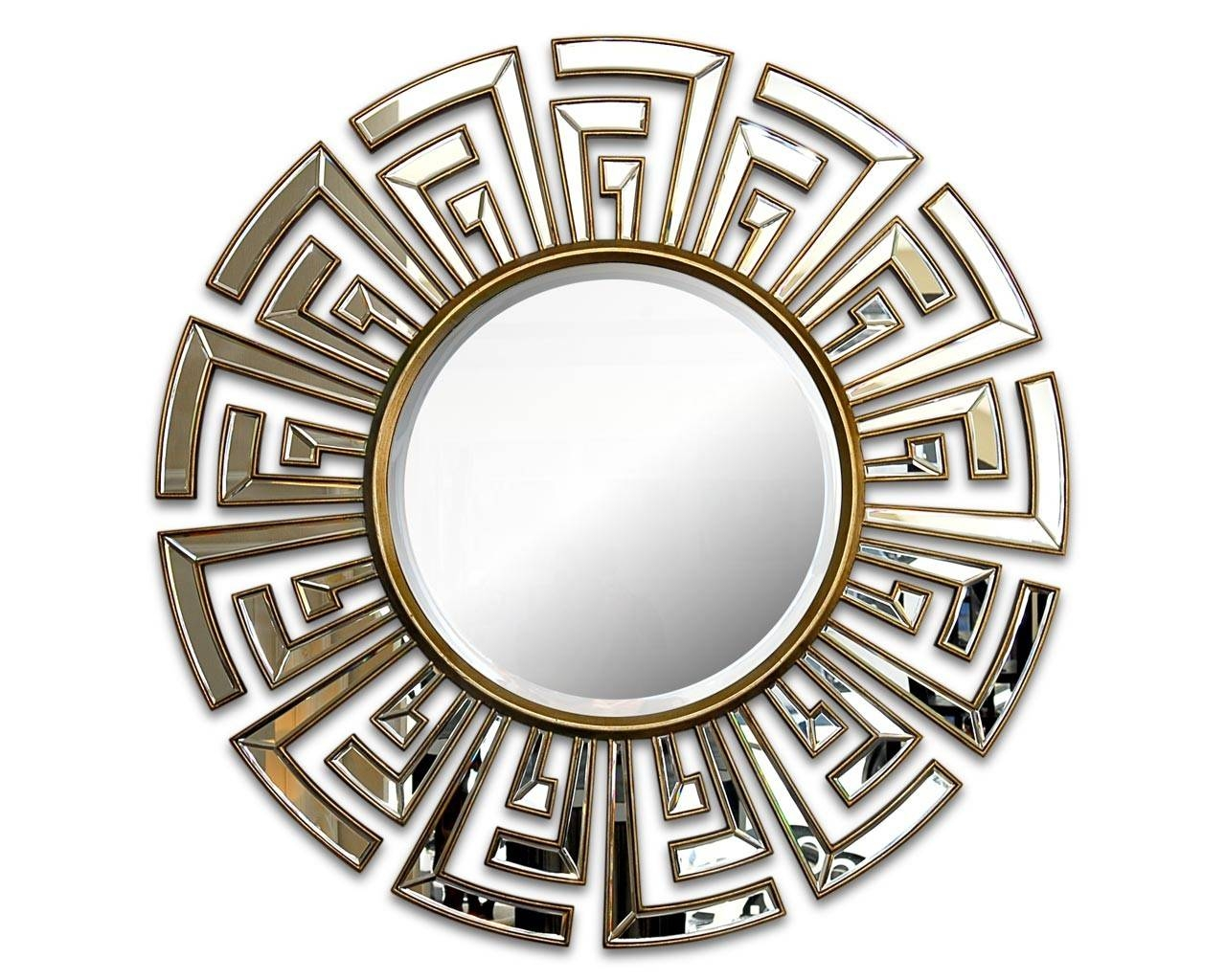 Contemporary Art Deco Round Mirror | Statement Circular Mirrors in Contemporary Round Mirrors (Image 8 of 25)