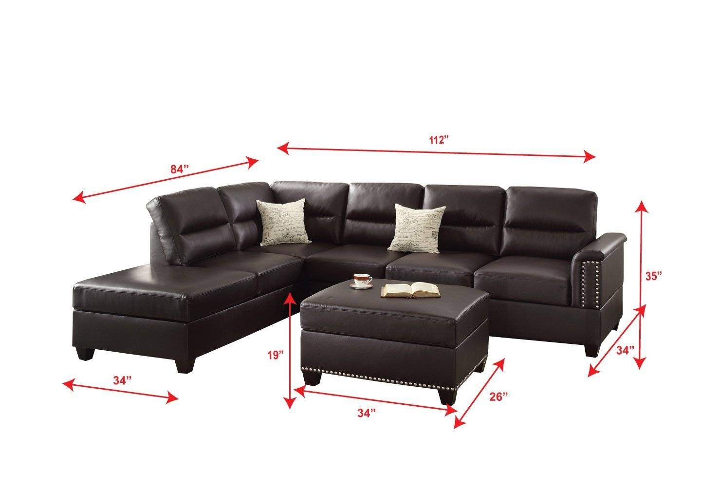 Contemporary Black Leather Sectional Sofa Left Side Chaise For Contemporary Black  Leather Sectional Sofa Left Side