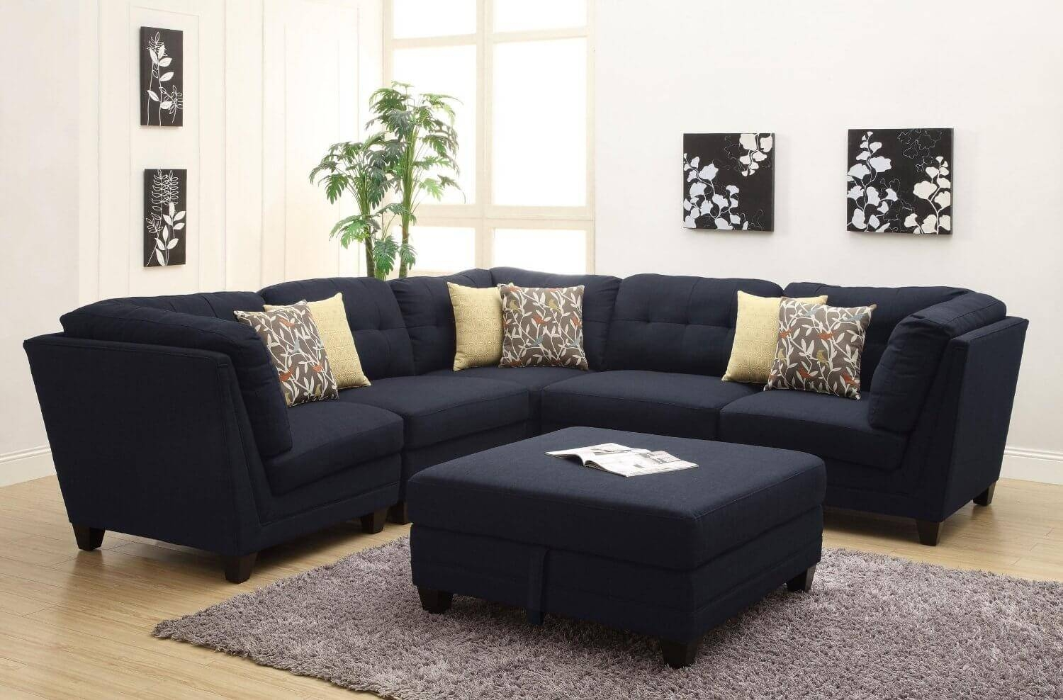 Contemporary Black Leather Sectional Sofa Left Side Chaise Pertaining To Contemporary Black Leather Sectional Sofa Left Side Chaise (View 11 of 30)