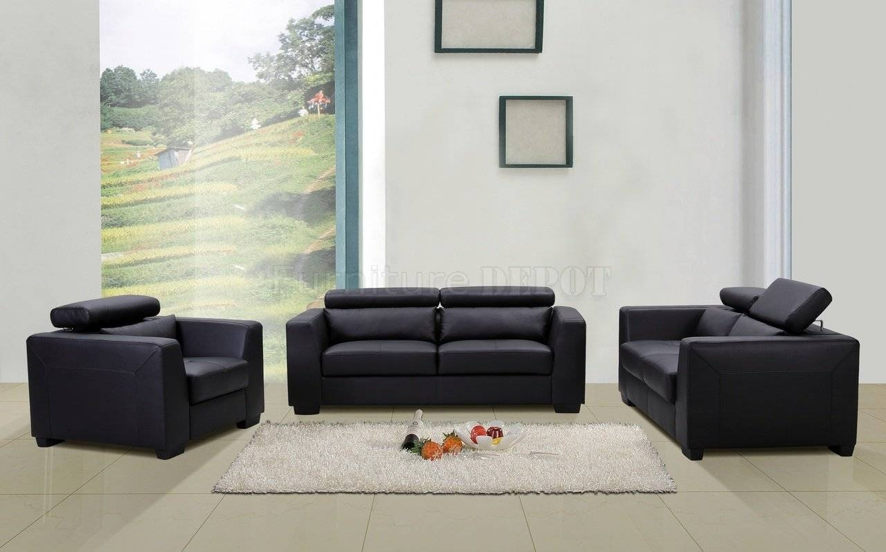Contemporary Black Leather Sofa And Haram Furniture: New 3Pc intended for Contemporary Black Leather Sofas (Image 7 of 30)
