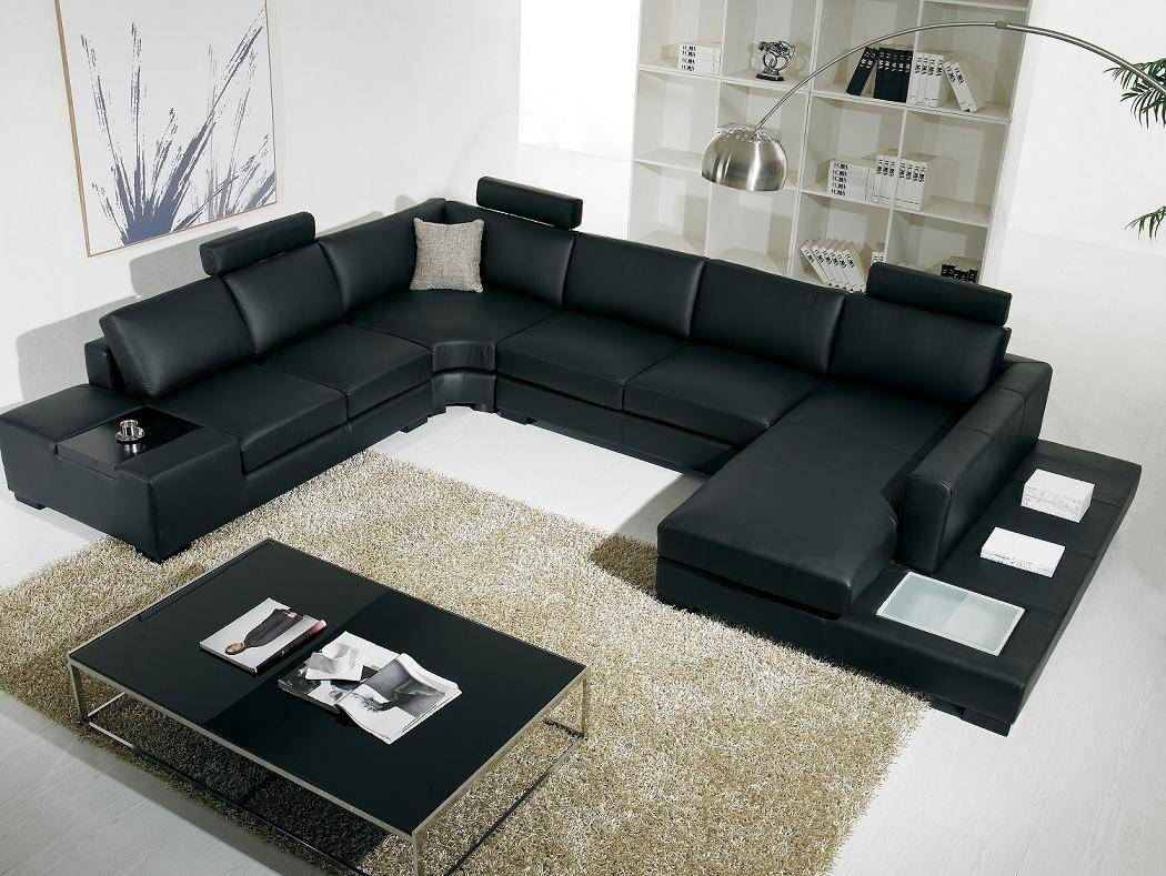 Contemporary Black Leather Sofa And Modern Black Leather Sectional Intended For Contemporary Black Leather Sofas (View 8 of 30)