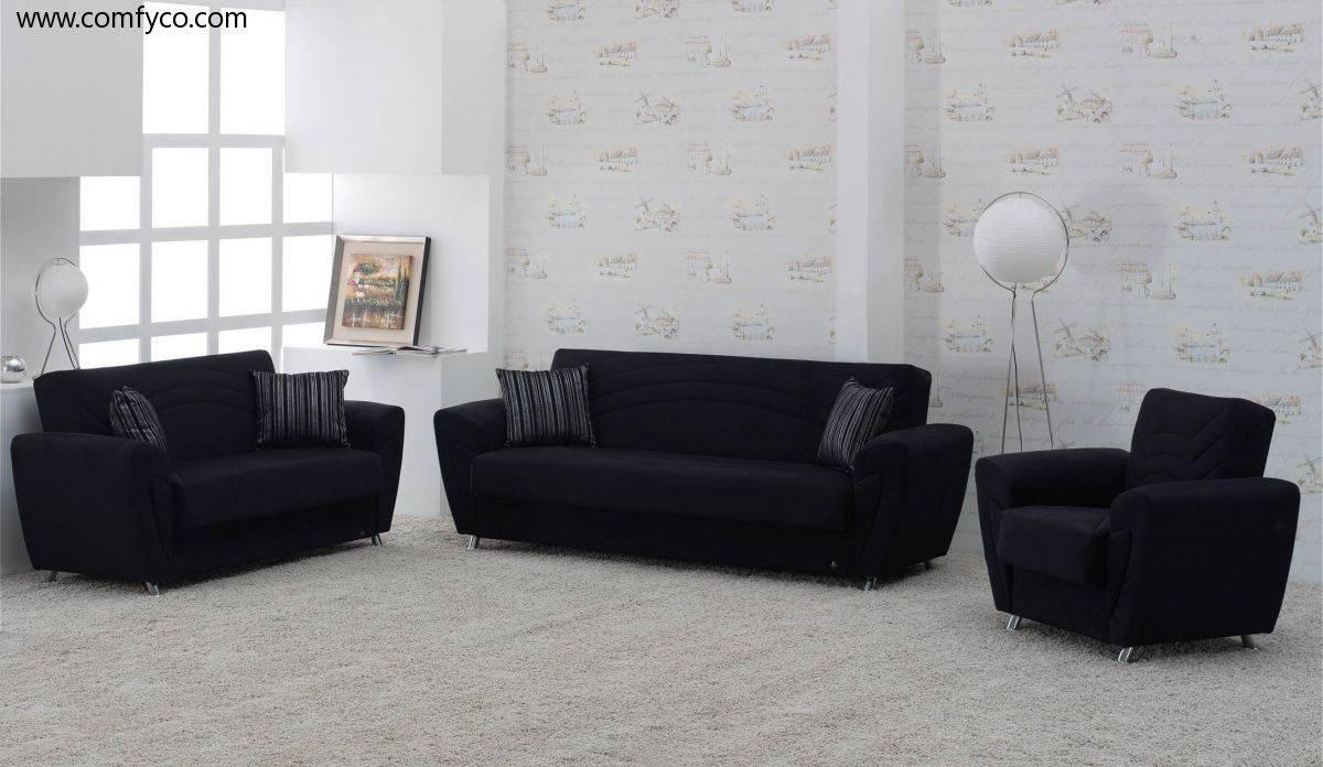 Contemporary Black Velvet Sofa Bed Bold - S3Net - Sectional Sofas for Black Velvet Sofas (Image 5 of 30)