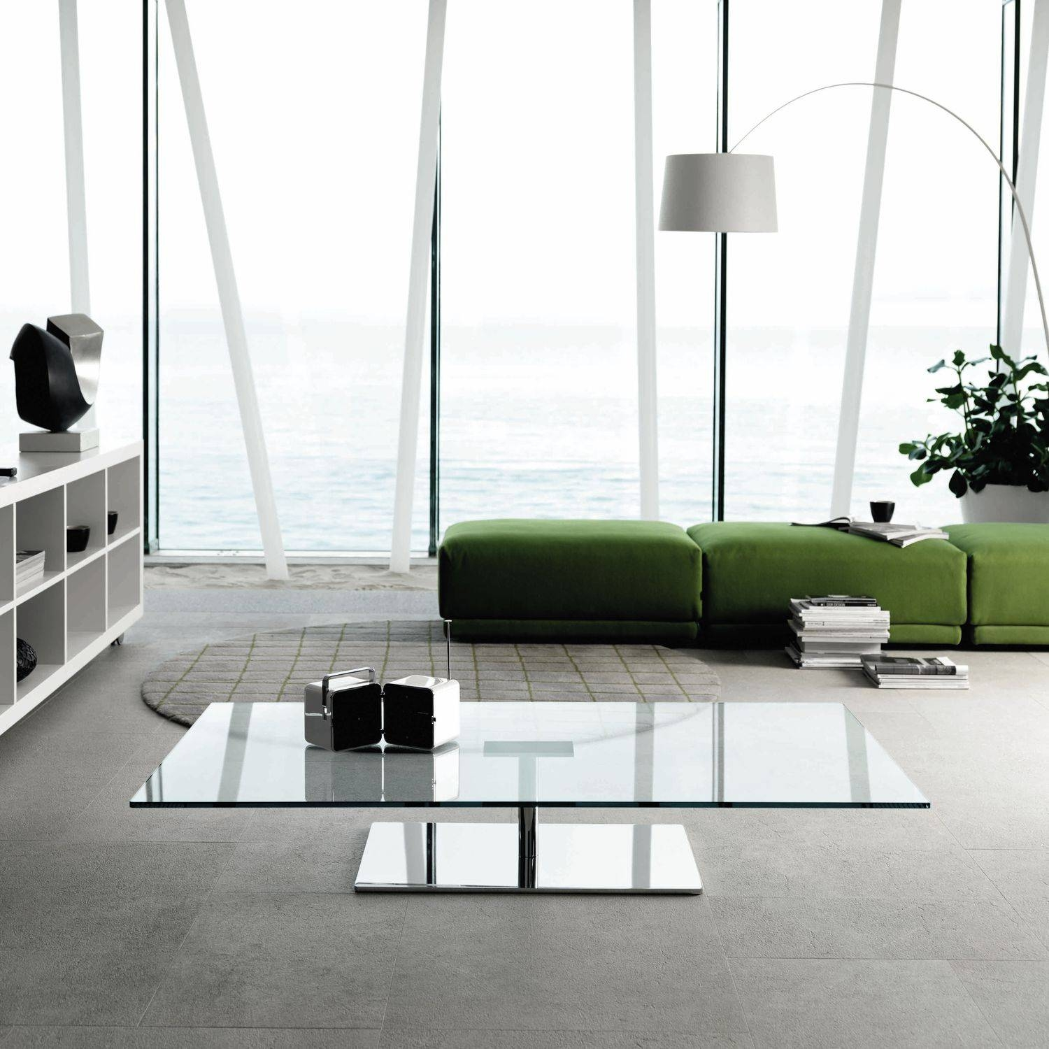 Contemporary Coffee Table / Glass / Chromed Metal / Rectangular with regard to Rectangle Glass Chrome Coffee Tables (Image 20 of 30)