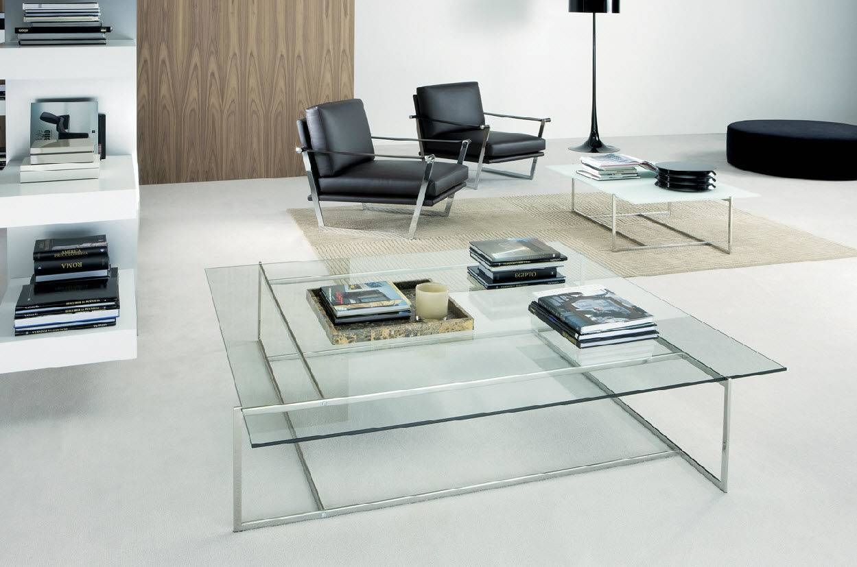 Contemporary Coffee Table / Glass / Stainless Steel / Square - C with regard to C Coffee Tables (Image 12 of 30)