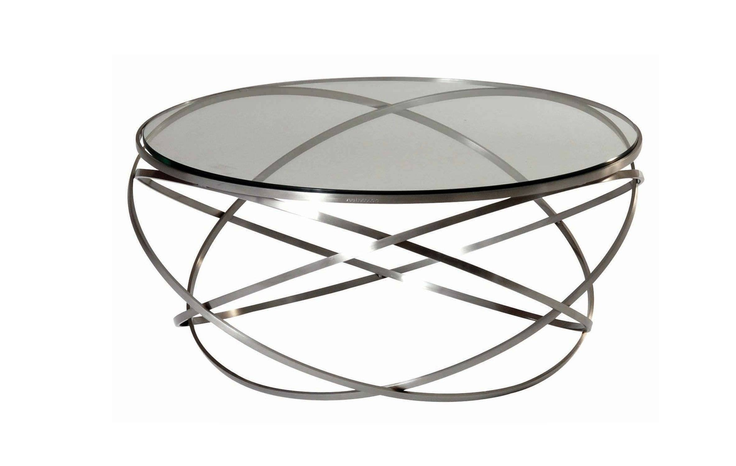 Contemporary Coffee Table / Glass / Steel / Round – Evolcédric With Steel And Glass Coffee Tables (View 11 of 30)