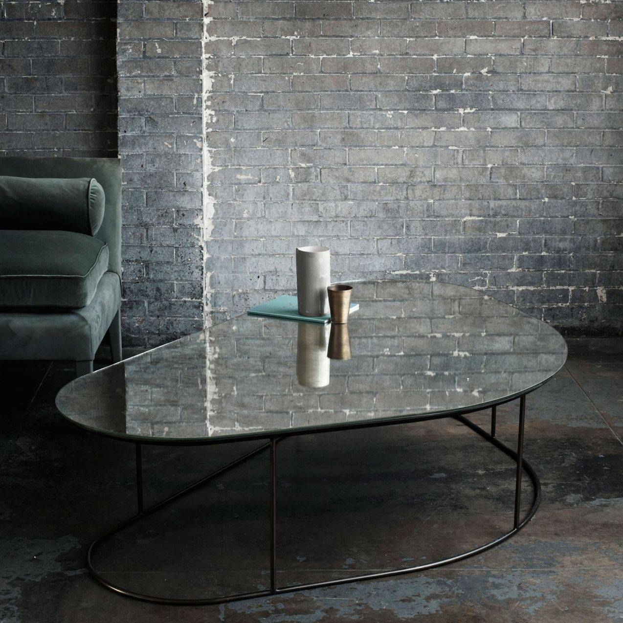 Contemporary Coffee Table / Glass / Steel / Triangular - Moon with regard to Mercury Glass Coffee Tables (Image 15 of 30)