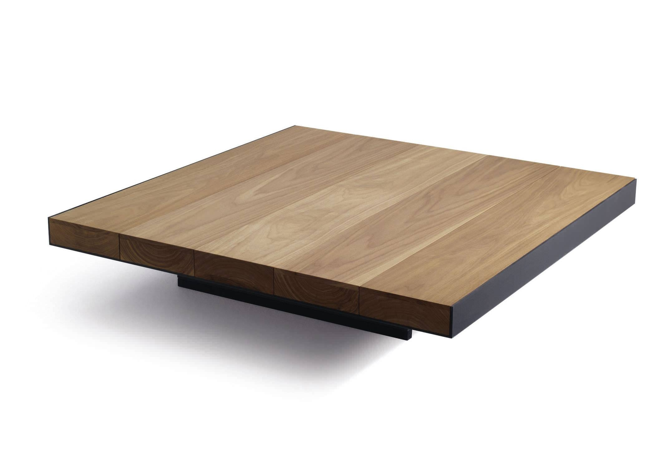 Contemporary Coffee Table / Metal / Walnut / Square - Deck - Lema Home with regard to Low Square Wooden Coffee Tables (Image 9 of 30)