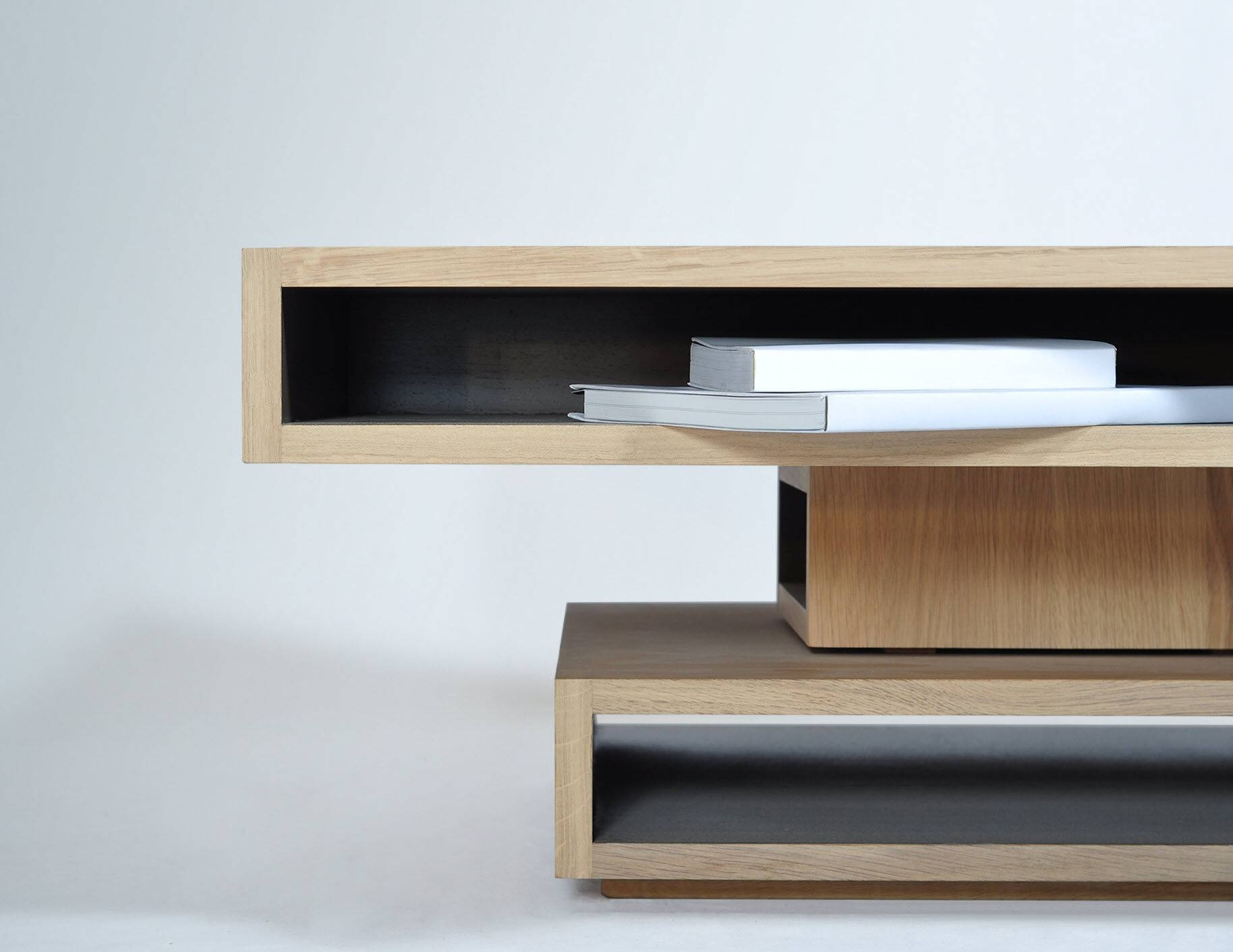 Contemporary Coffee Table / Oak / Square / With Storage pertaining to Coffee Tables With Shelves (Image 13 of 30)