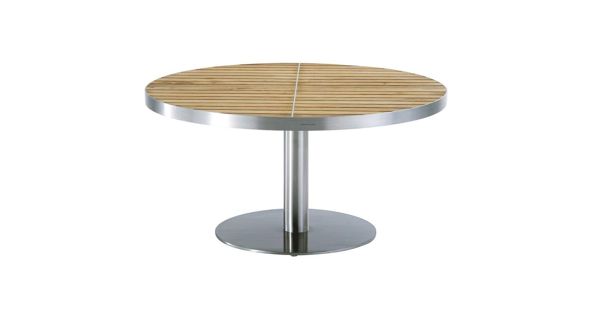 Contemporary Coffee Table / Teak / Stainless Steel / Round - Kurf intended for Contemporary Coffee Table (Image 9 of 30)
