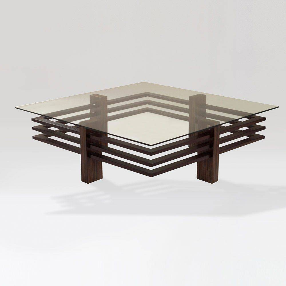 Contemporary Coffee Table / Wooden / Glass / Square - Chocolate intended for Wooden and Glass Coffee Tables (Image 12 of 30)