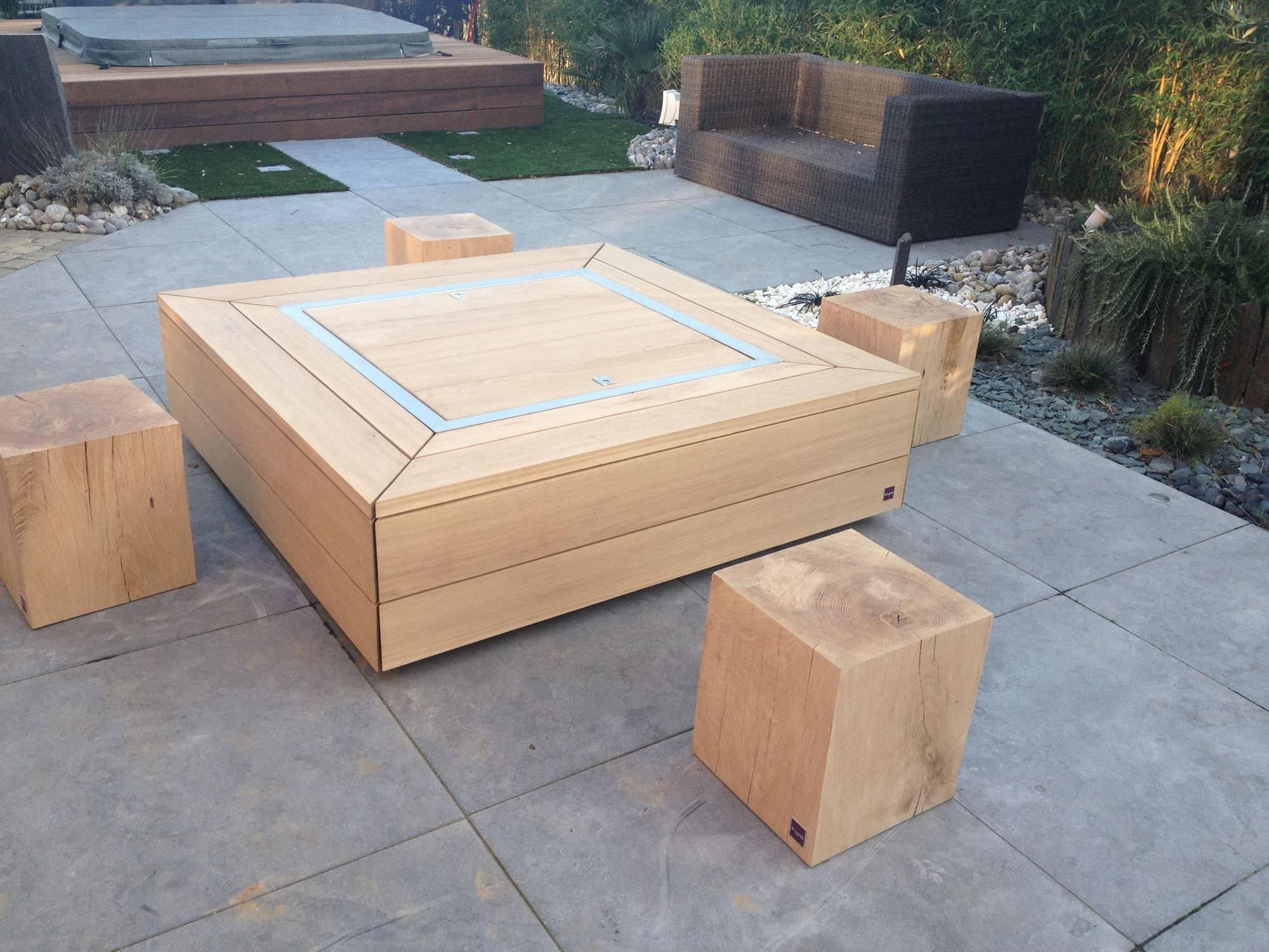 Contemporary Coffee Table / Wooden / Square / Garden - Kub inside Wooden Garden Coffee Tables (Image 7 of 30)
