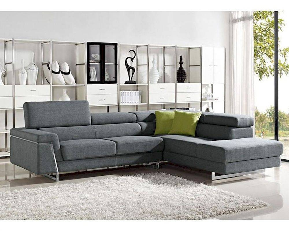 Contemporary Grey Fabric Sectional Sofa Set 44L6055 with Contemporary Fabric Sofas (Image 1 of 30)