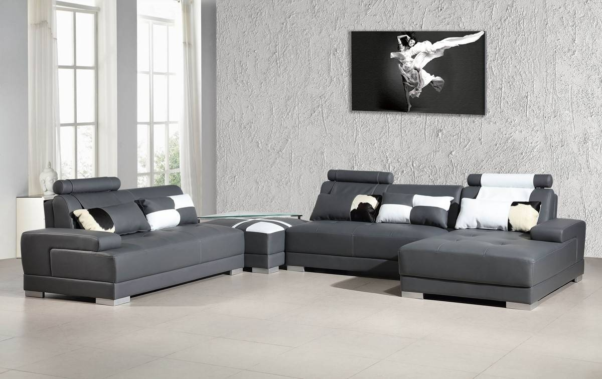 Contemporary Grey Leather Sectional Sofa W/ Ottoman regarding Gray Leather Sectional Sofas (Image 8 of 30)