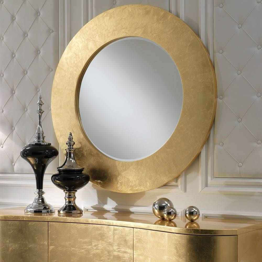 Contemporary Italian Gold Leaf Round Mirror | Juliettes Interiors pertaining to Gold Round Mirrors (Image 6 of 25)