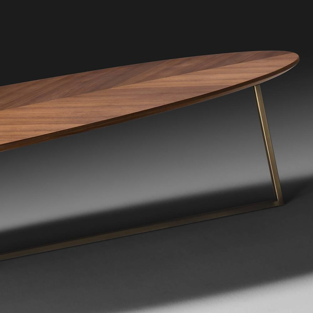 Contemporary Italian Walnut Oval Coffee Table | Juliettes Pertaining To Oval Walnut Coffee Tables (View 5 of 30)