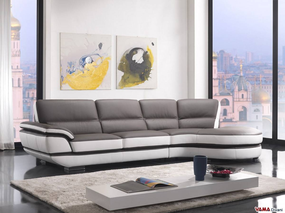Contemporary Leather Sofa With A 60-Degree Corner within Two Tone Sofas (Image 7 of 30)