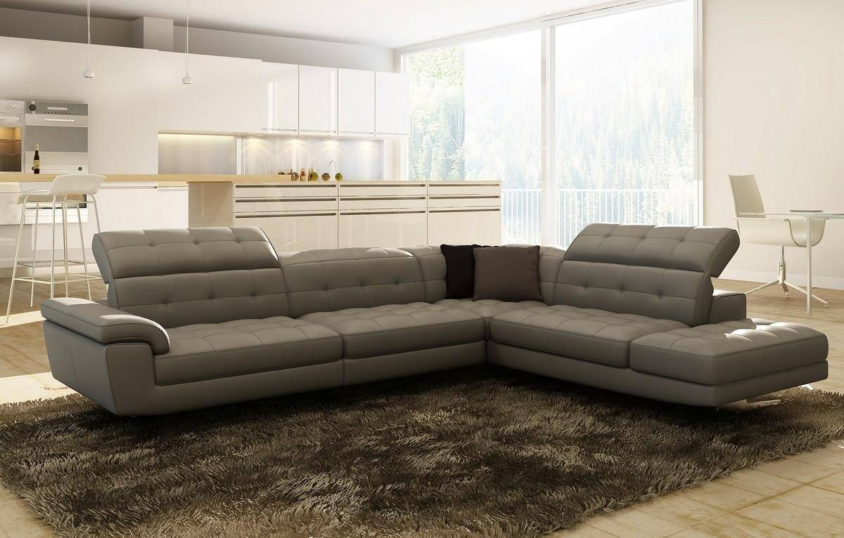 Contemporary & Luxury Furniture; Living Room, Bedroom,la Furniture in Gray Leather Sectional Sofas (Image 7 of 30)