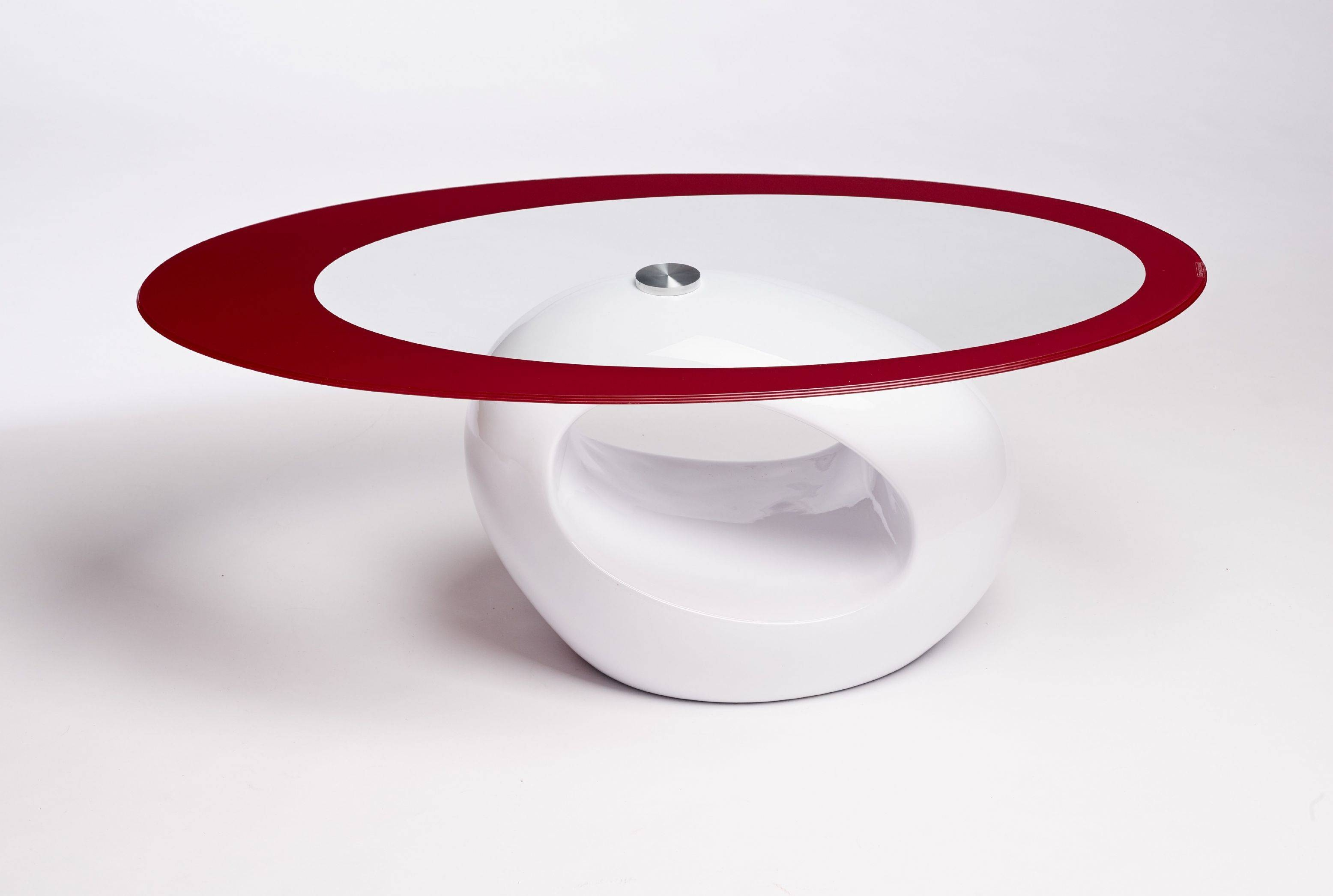 Contemporary Retro Designed Oval Coffee Table (Red White within Oval White Coffee Tables (Image 12 of 30)