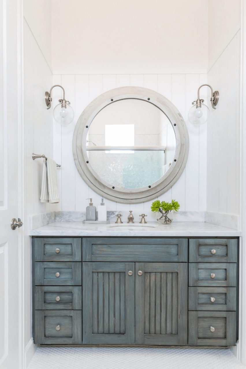 Contemporary Round Nautical Mirror Metal Mirror Frame White Wall intended for White Metal Mirrors (Image 10 of 25)