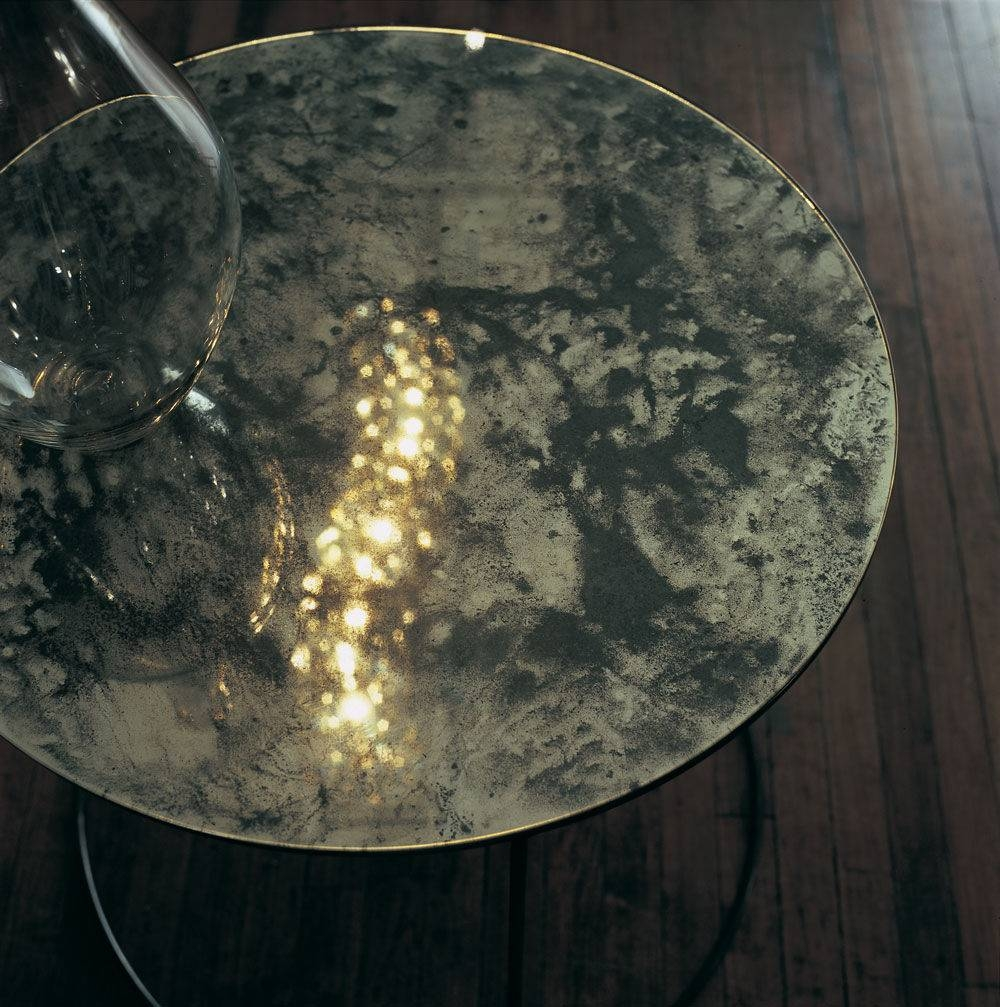 Contemporary Side Table / Glass / Metal / Round - Moon - Ochre regarding Mercury Glass Coffee Tables (Image 17 of 30)