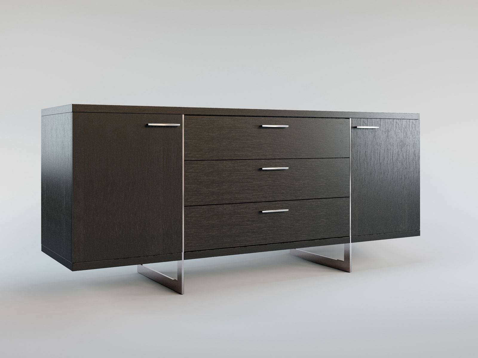 Contemporary Sideboard Buffet With Three Storage Drawers Tulsa inside Contemporary Sideboards (Image 6 of 30)