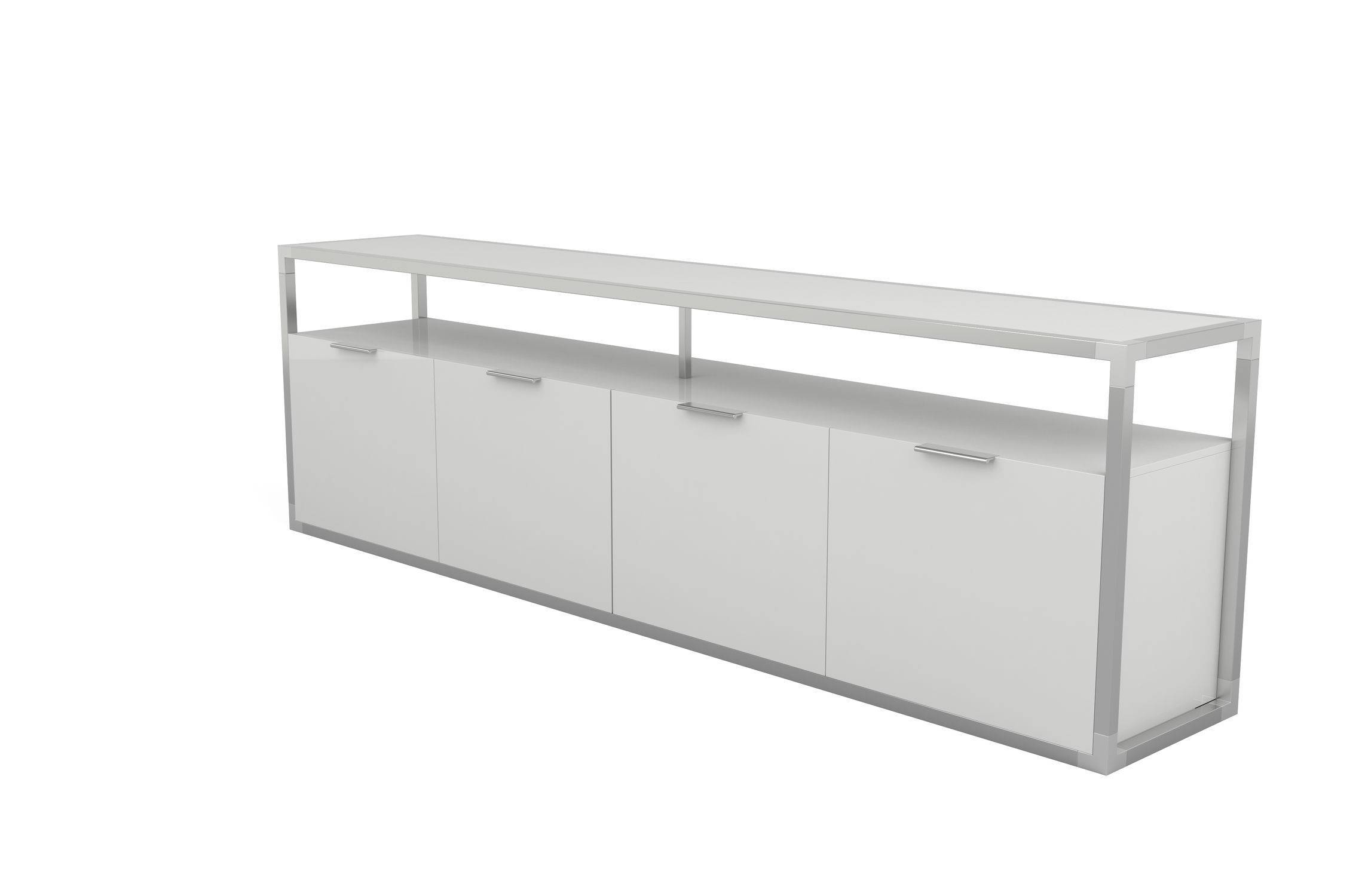 Contemporary Sideboard / Lacquered Wood / Oak / Glass - Dedicato for White Contemporary Sideboards (Image 2 of 30)