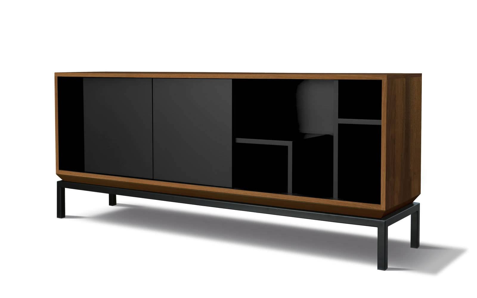 Contemporary Sideboard / Oak / Walnut / Lacquered Mdf - My City within Walnut and Black Sideboards (Image 8 of 30)