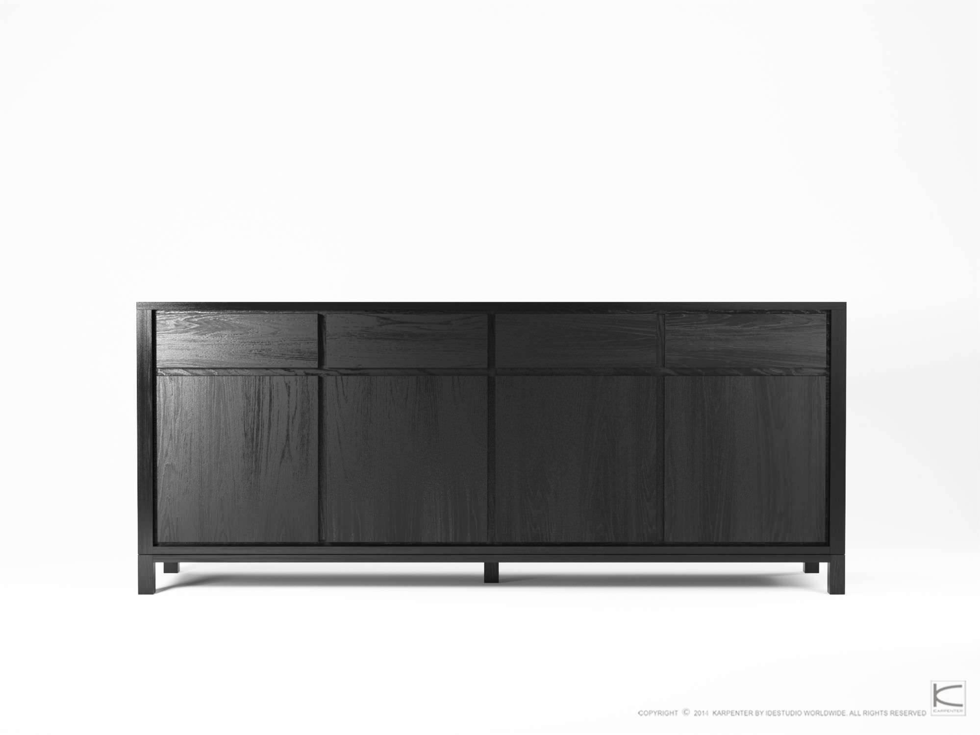 Contemporary Sideboard / Oak / Walnut / Solid Wood - So09 - Karpenter with Black and Walnut Sideboards (Image 11 of 30)