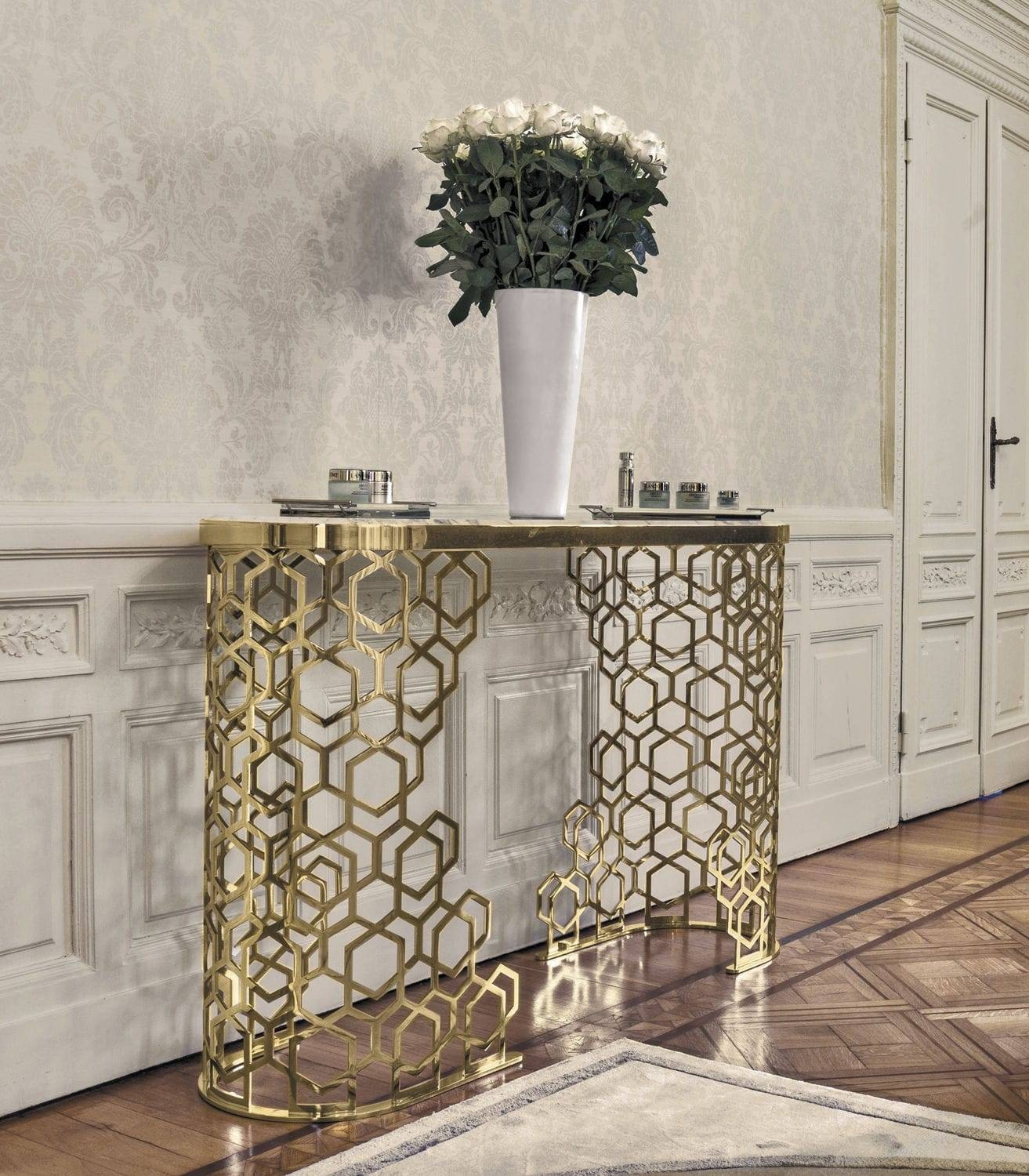Contemporary Sideboard Table / Metal / Marble / Leather - Manfred inside Metal Sideboard Furniture (Image 5 of 30)
