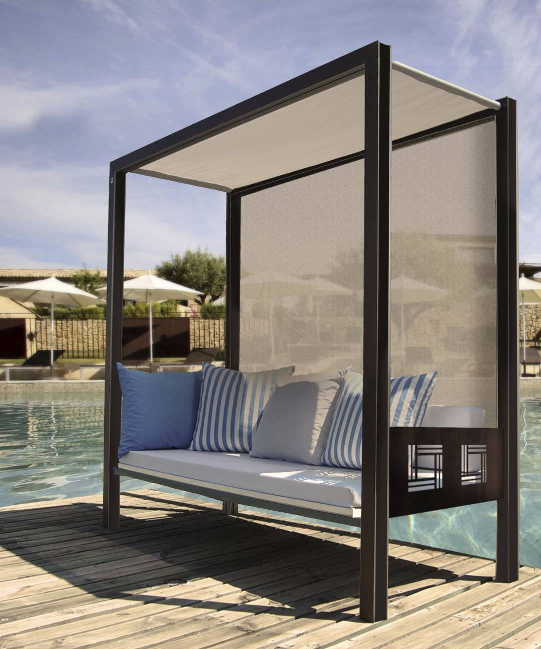 Contemporary Sofa / Garden / Metal / 3-Seater - Polymobyl Pour La inside Outdoor Sofas With Canopy (Image 8 of 30)