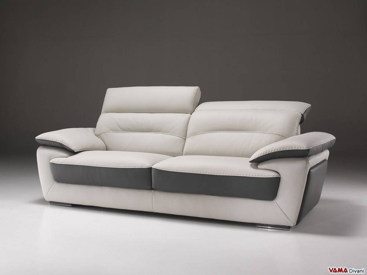 Contemporary Sofa In Two-Tone Leather With Reclining Headrest intended for Two Tone Sofas (Image 8 of 30)