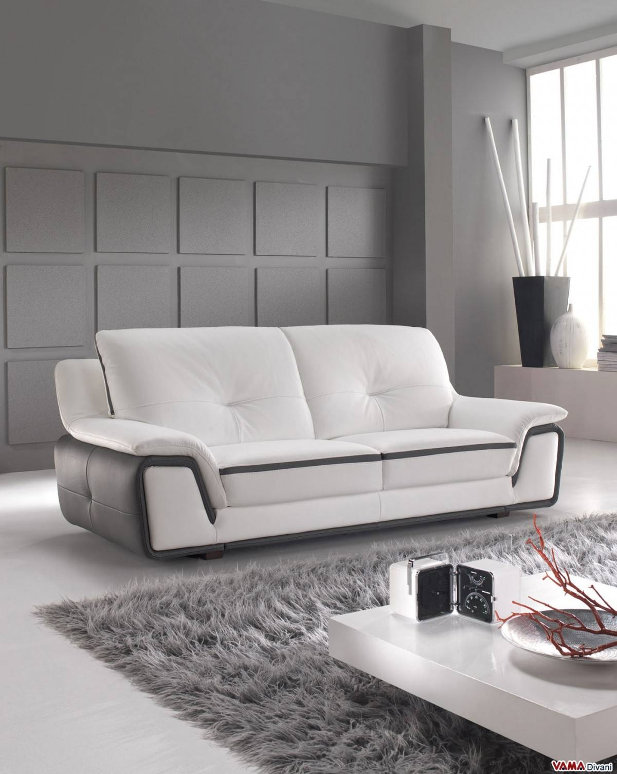 Contemporary Sofa In White And Grey Genuine Leather intended for Modern 3 Seater Sofas (Image 5 of 30)
