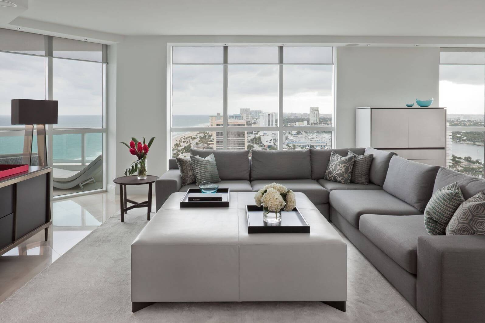 Contemporary Square White Leather Large Ottoman Coffee Table Grey inside Sectional Sofa With Large Ottoman (Image 3 of 30)