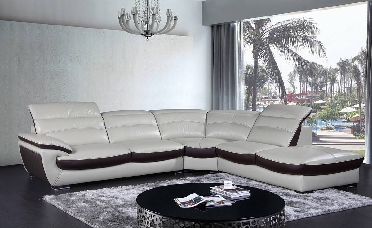 Contemporary Two Tone Leather Sectional Sofa with Two Tone Sofas (Image 10 of 30)