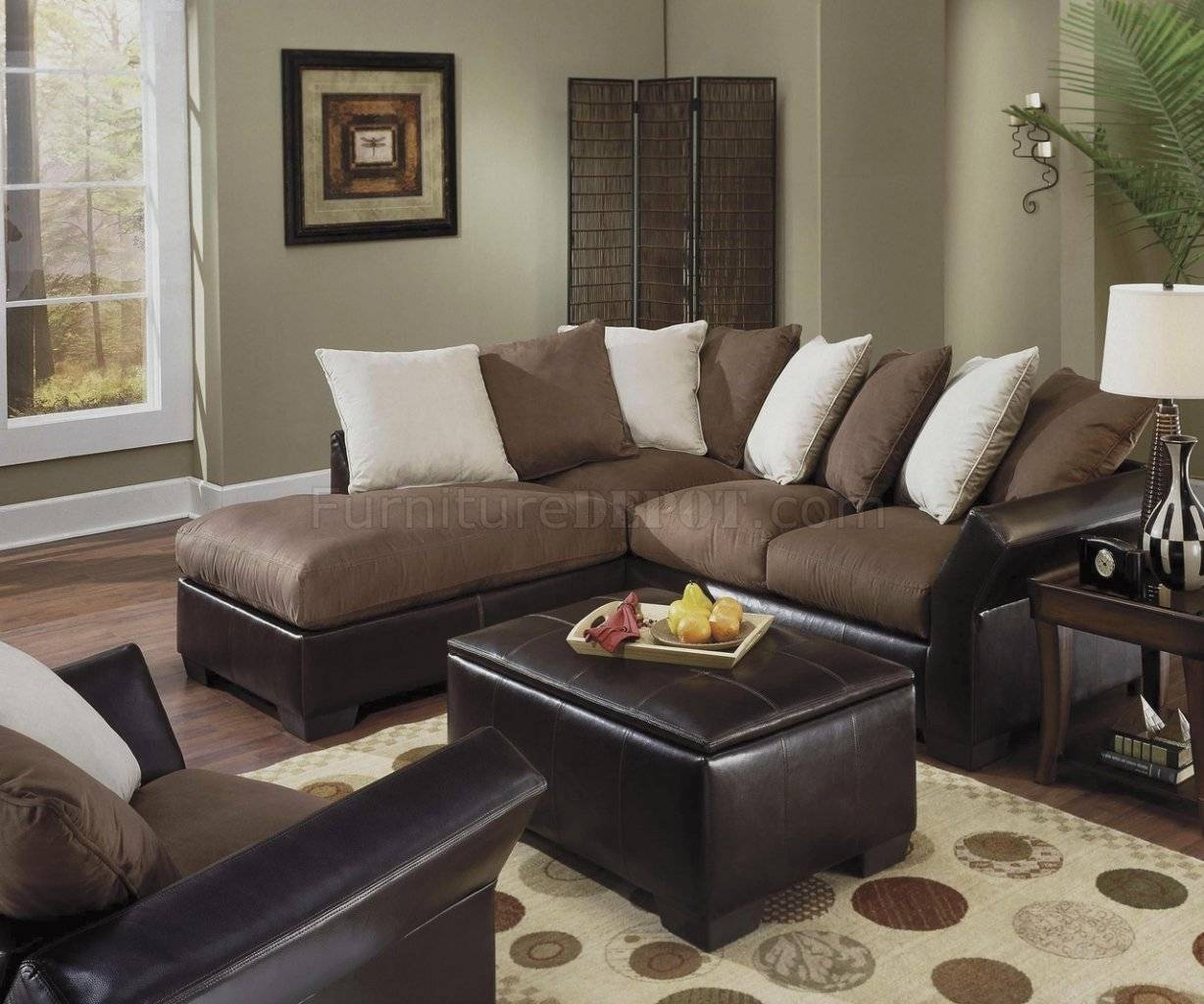 Contemporary Vinyl Leather & Mocha Micro Suede Sectional with Leather and Suede Sectional Sofa (Image 4 of 25)