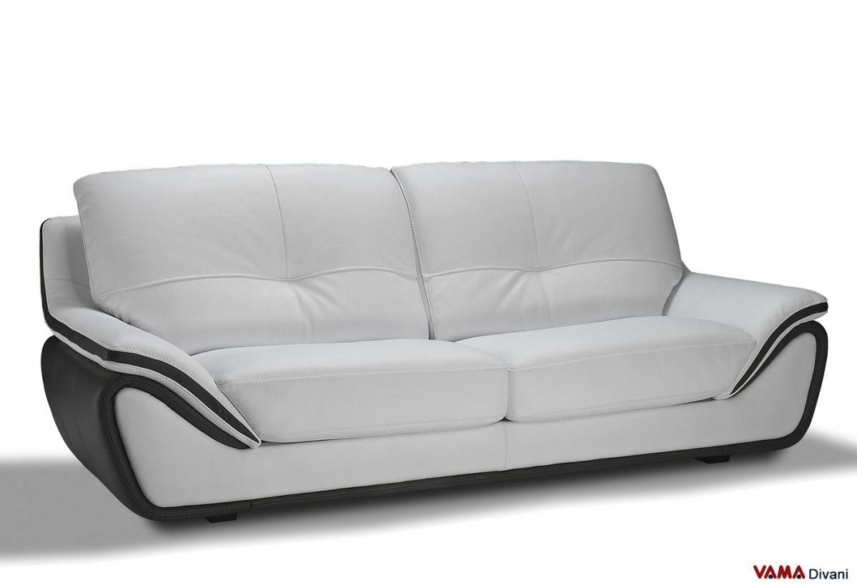 Contemporary White Leather Sofa | Large And High Back regarding Modern 3 Seater Sofas (Image 6 of 30)