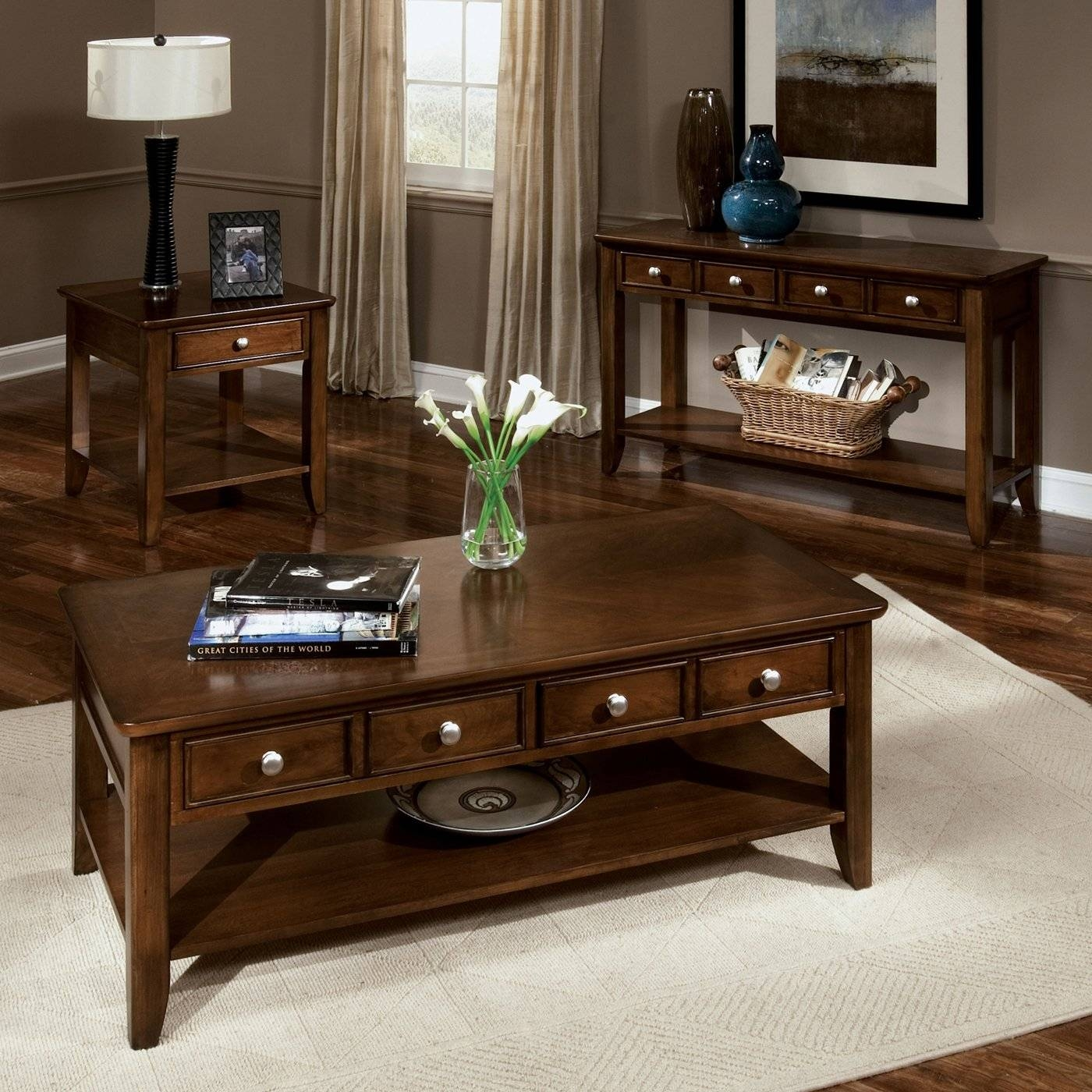Contemporary Wood Coffee Table Coffee Tables And Side Tables – 4 Pertaining To Coffee Tables And Side Table Sets (View 14 of 30)