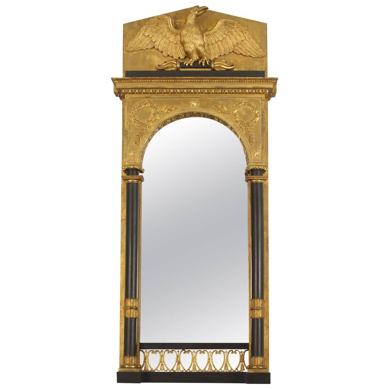 Continental Swedish Empire Architectural Gilt Wall Mirror With in Gilt Framed Mirrors (Image 8 of 25)