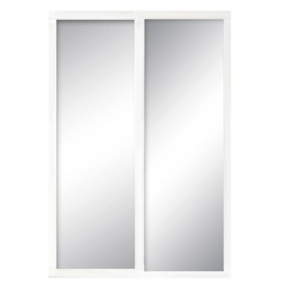 Contractors Wardrobe 84 In. X 96 In. Serenity Mirror White Wood in White Wooden Wardrobes (Image 5 of 15)