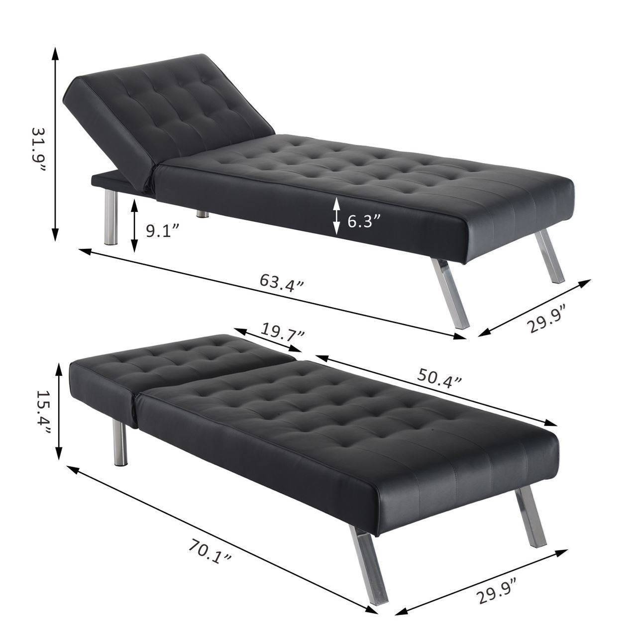 "Convenience Boutique|70"" Modern Reclining Chaise Lounge Sleeper throughout 70 Sleeper Sofa (Image 21 of 30)"
