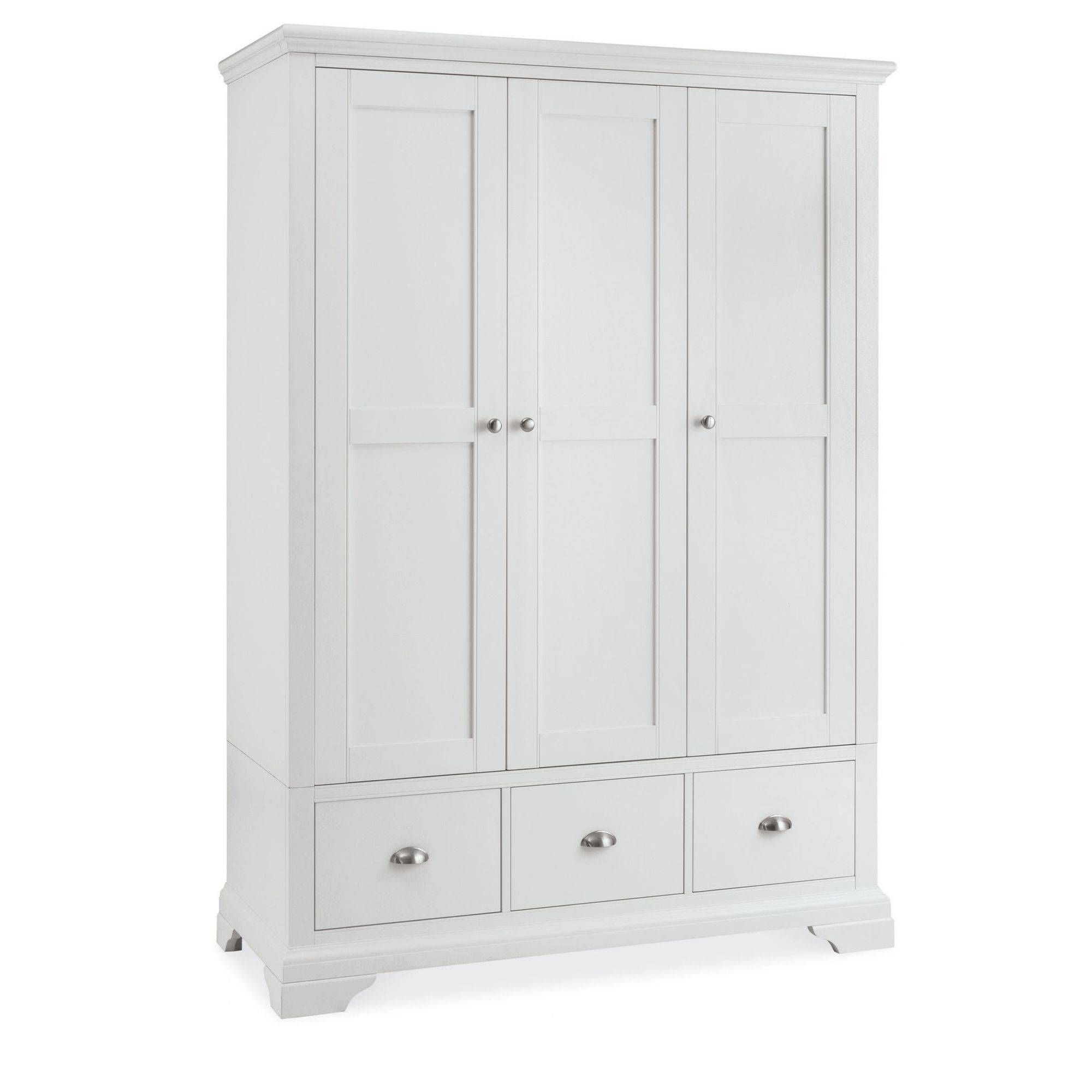 Cookes Collection Camden White Triple Wardrobe   Bedding Furniture Inside Large White Wardrobes (Photo 13 of 15)