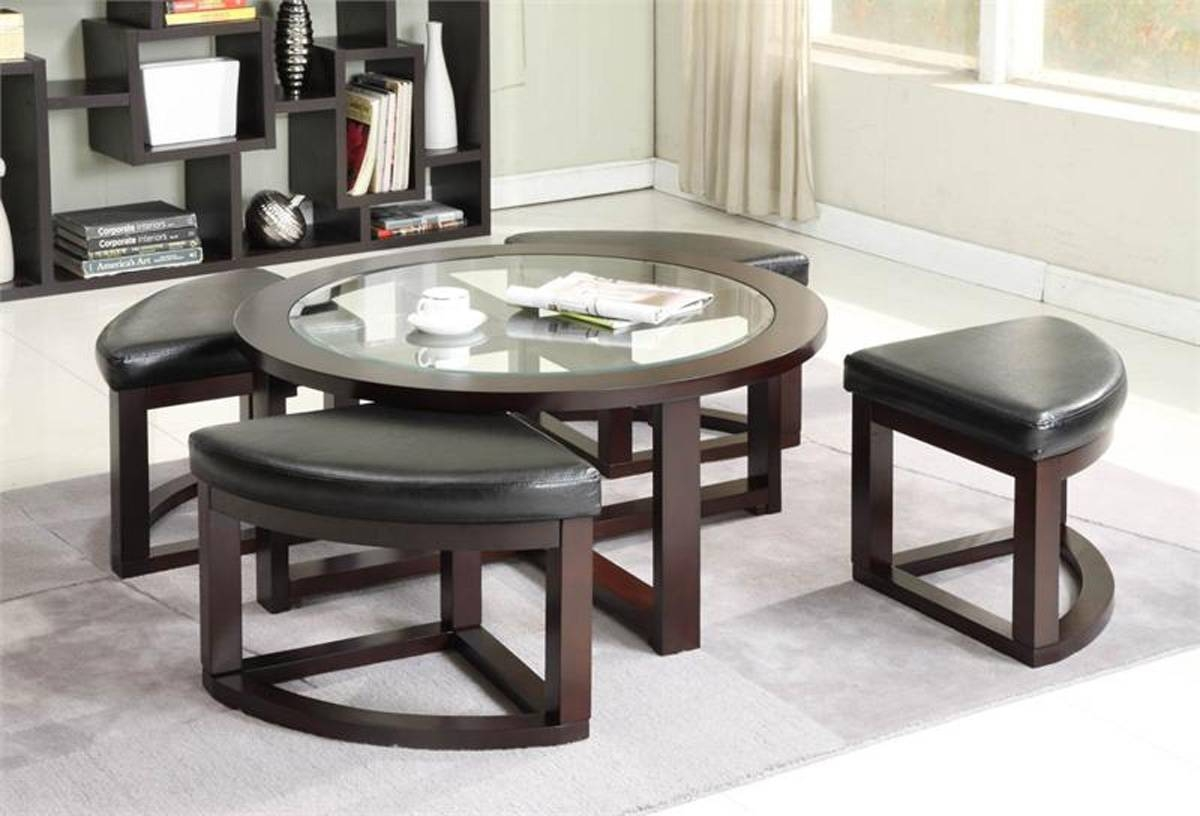 Cool Round Coffee Table With Stools Underneath Square Tables with regard to Coffee Table With Chairs (Image 19 of 30)