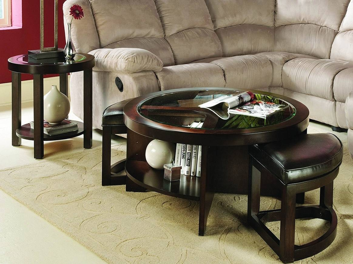 Cool Round Ottoman Coffee Table Tray intended for Round Coffee Table Trays (Image 13 of 30)
