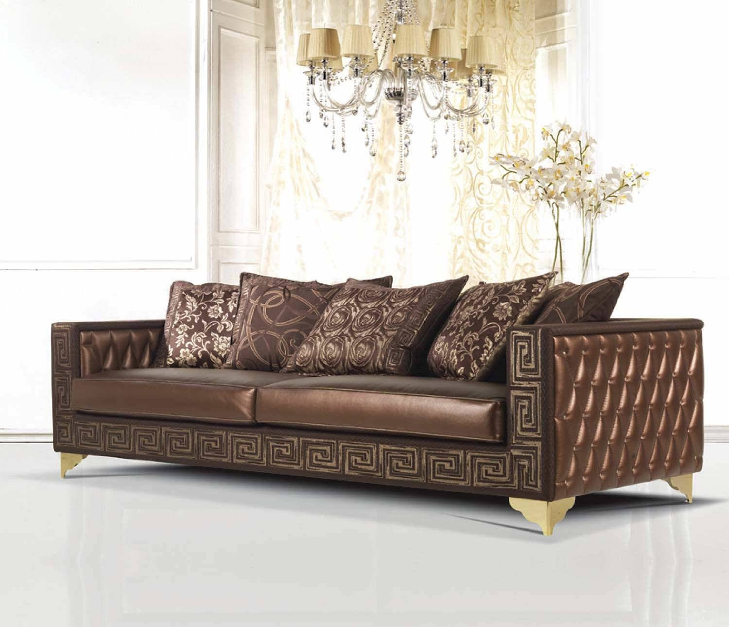 Copious Corner Brown Leather 2 Piece Sectional Sofa With Left pertaining to Traditional Sectional Sofas Living Room Furniture (Image 6 of 25)