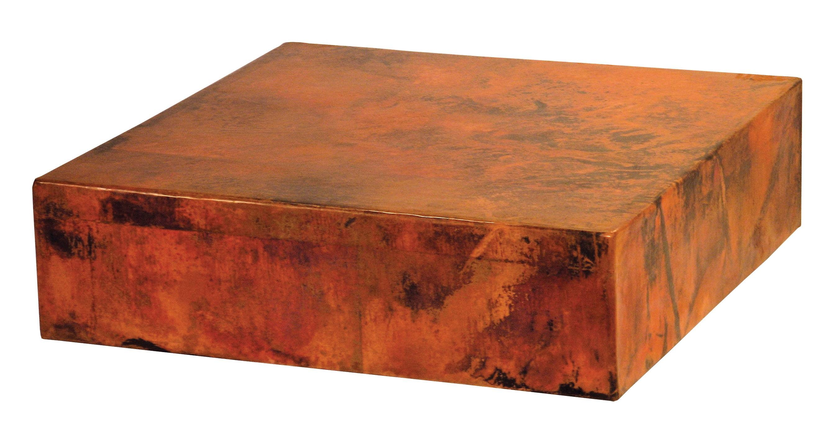 Copper Cube Coffee Table Storage Modern Large And End Rustic Top inside Round Coffee Tables With Storage (Image 12 of 30)