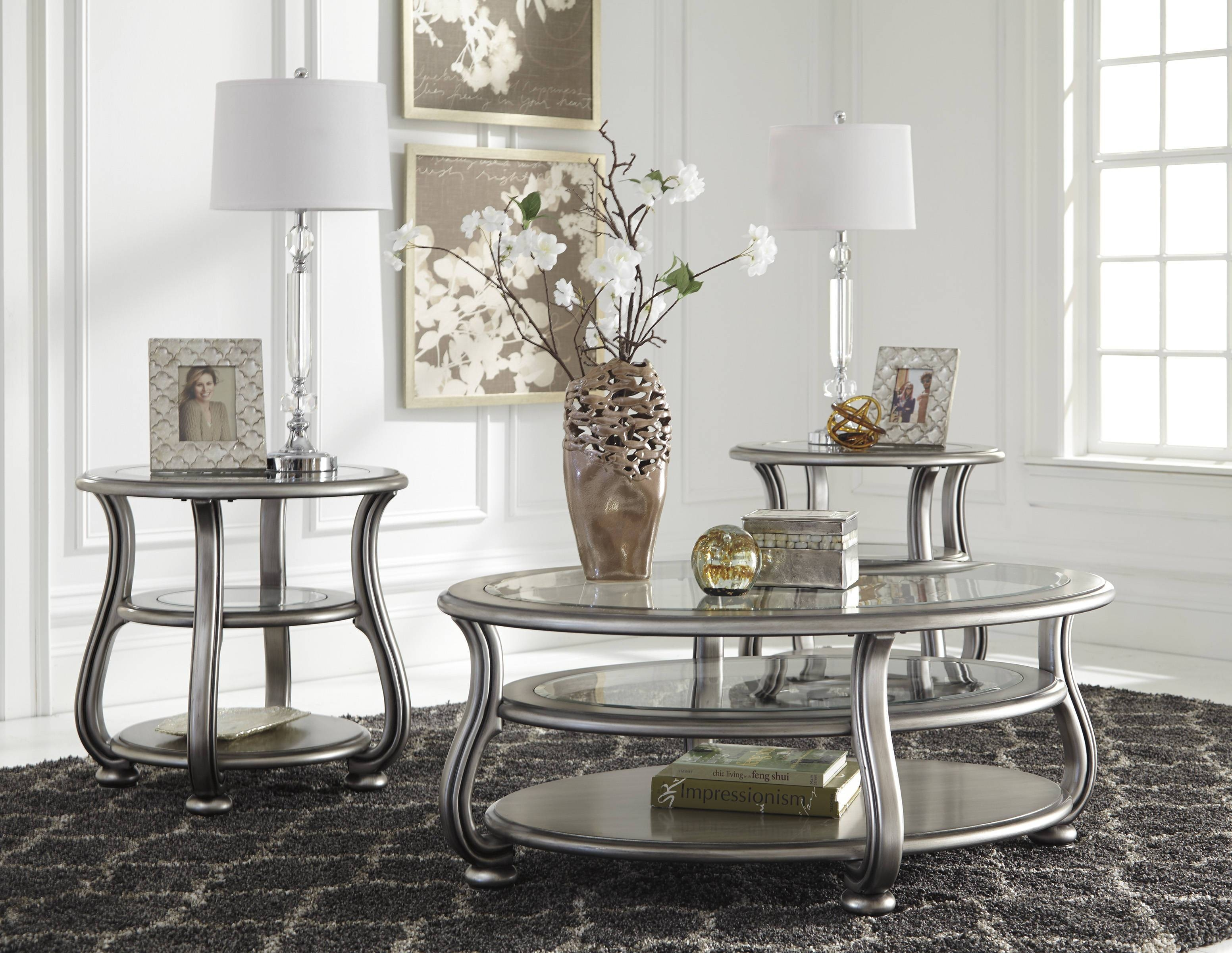 Coralayne Silver Metal Glass 3Pc Rectangle Round Coffee Table Set Regarding Glass And Silver Coffee Tables (View 10 of 30)