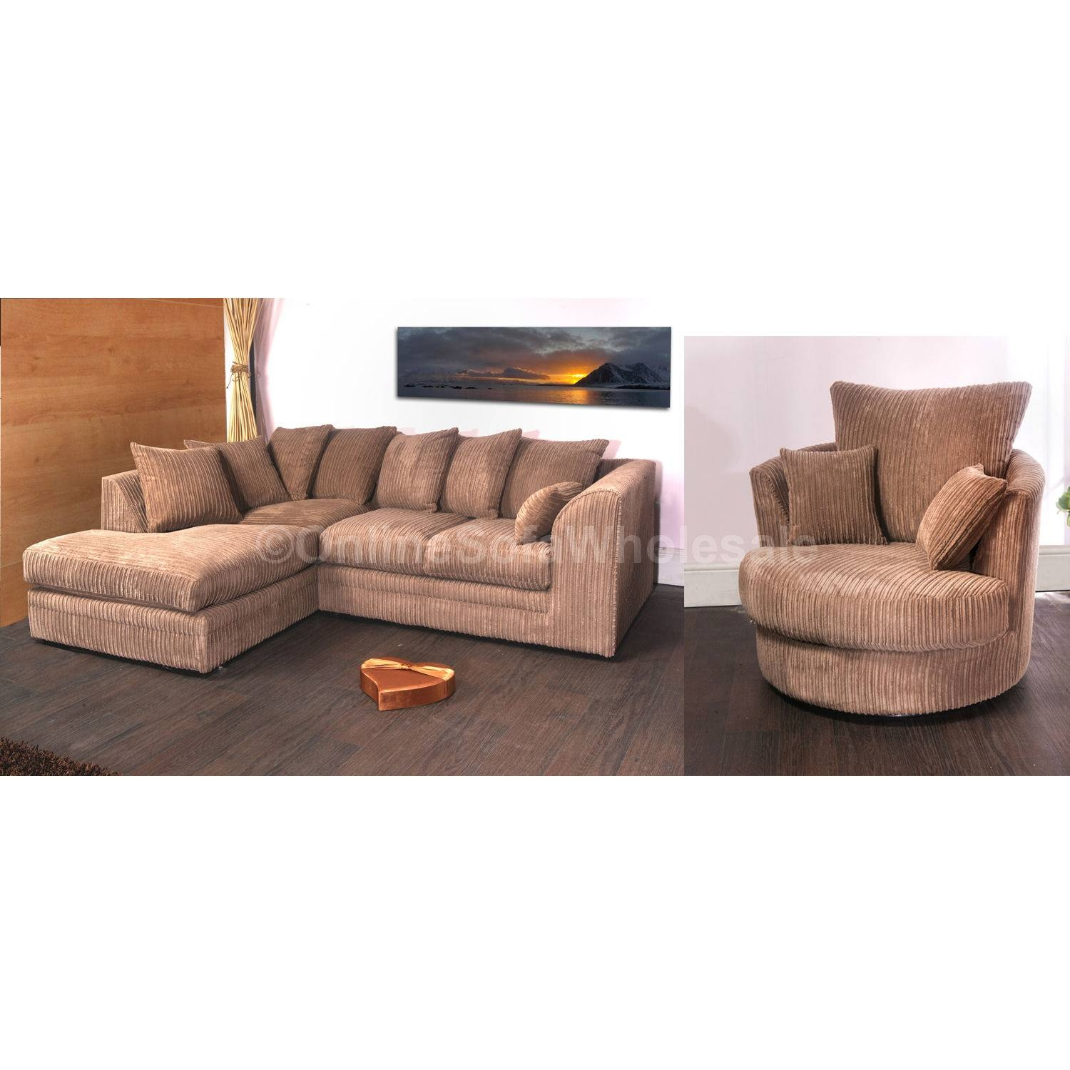 Cord Corner Sofa And Swivel Chair | Get Furnitures For Home with Corner Sofa And Swivel Chairs (Image 7 of 30)