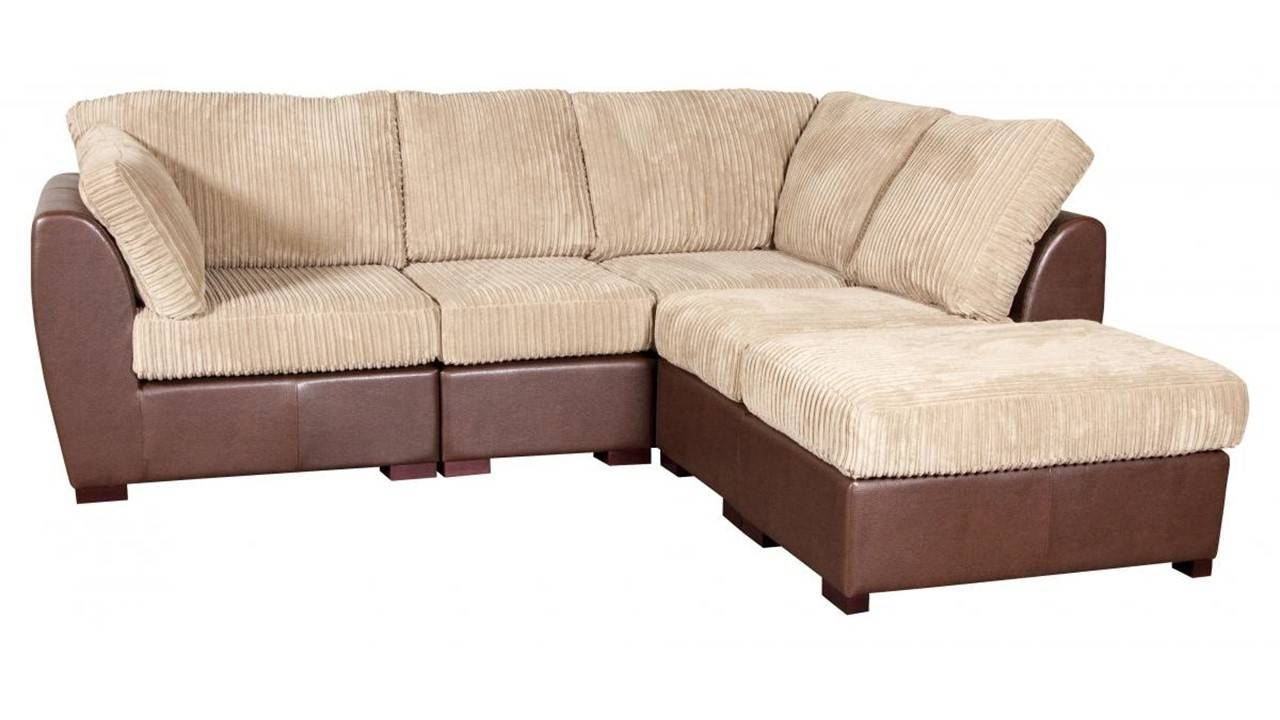 Cord Fabric Faux Leather Corner Sofa – Homegenies Within Small Brown Leather Corner Sofas (View 3 of 30)