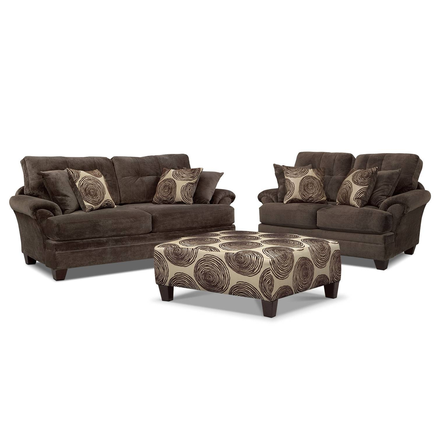 Cordelle Sofa And Swivel Chair Set - Chocolate | Value City Furniture inside Sofa With Swivel Chair (Image 4 of 30)