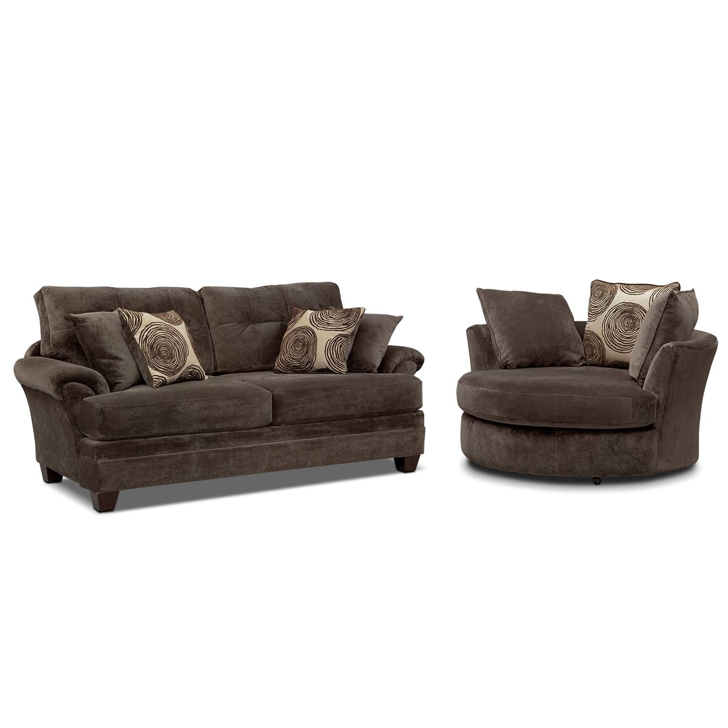 Cordelle Sofa And Swivel Chair Set - Chocolate | Value City Furniture throughout Sofa With Swivel Chair (Image 6 of 30)
